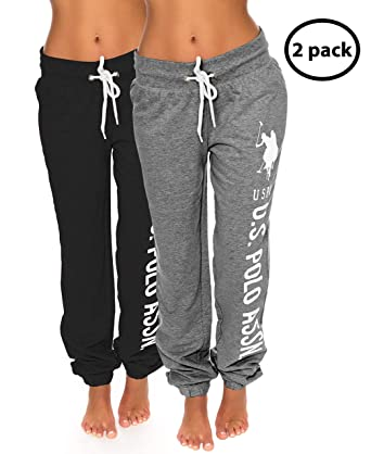 diverse styles latest collection running shoes US Polo Assn. Womens 2 Pack Printed French Terry Boyfriend Jogger Sweatpants