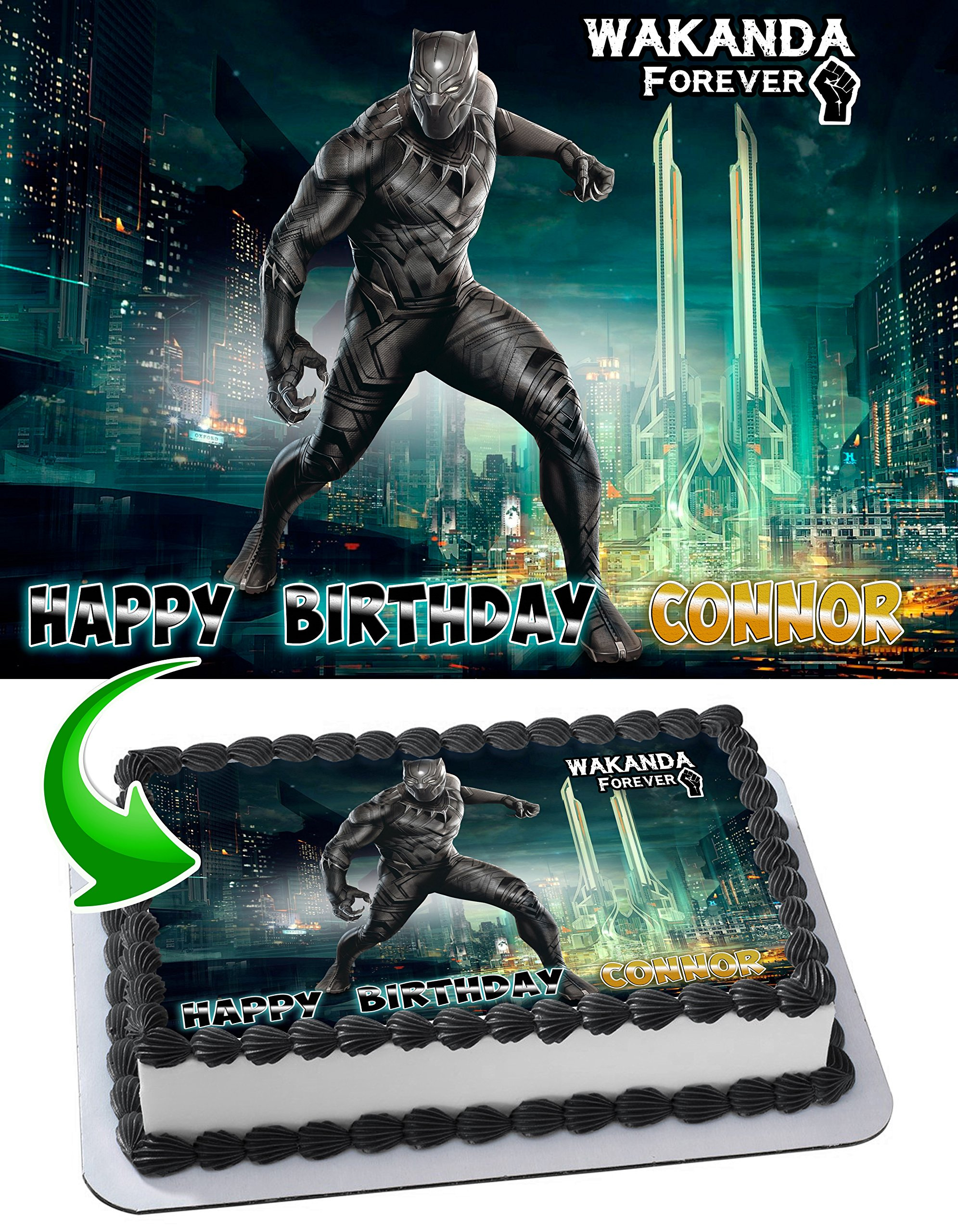 Black Panther Wakanda Forever Edible Image Cake Topper Personalized Icing Sugar Paper A4 Sheet Edible Frosting Photo Cake 1/4 ~ Best Quality Edible Image for cake