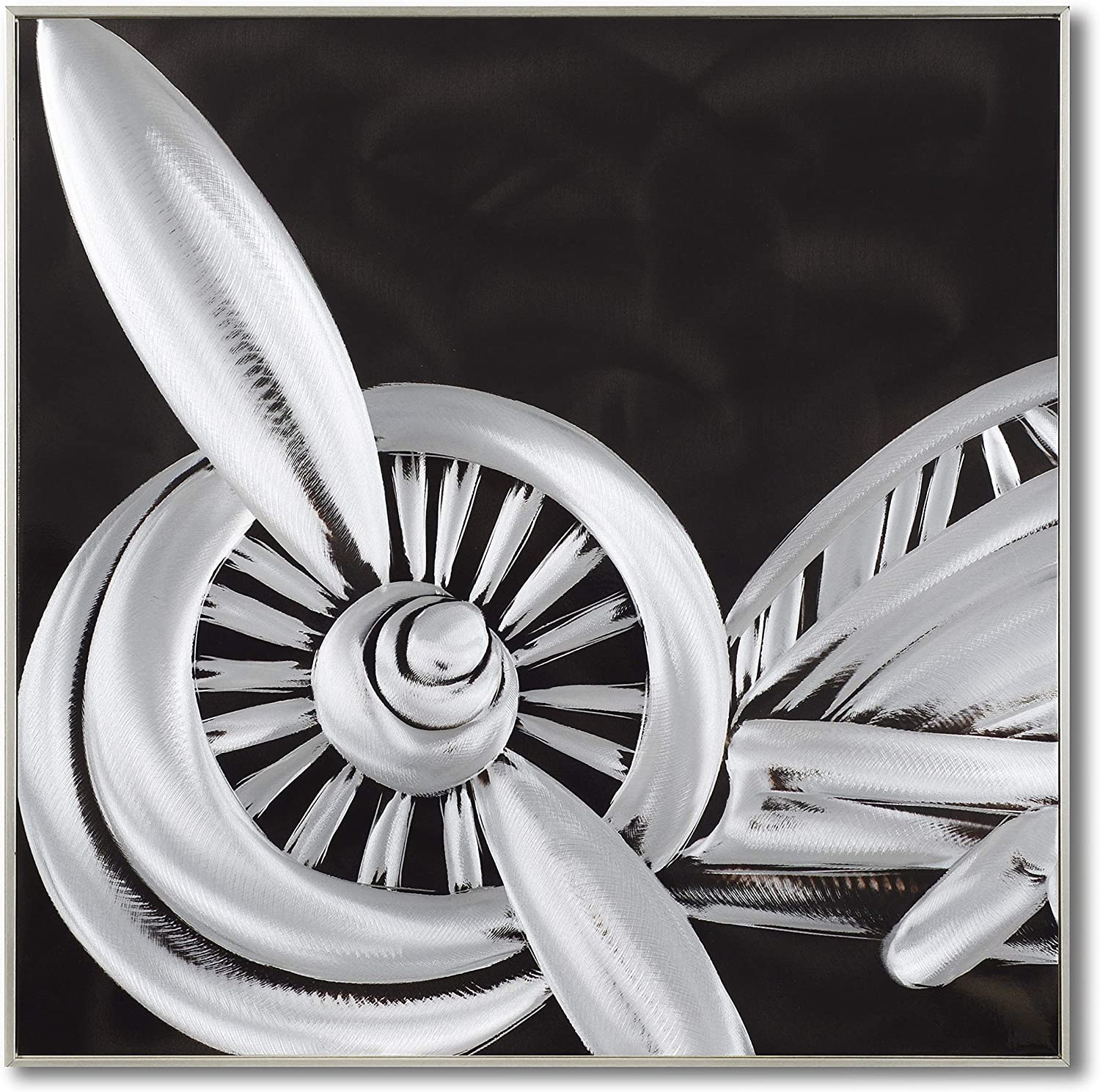 Yihui Arts Black And White Metal Wall Art Airplane Pictures For Living Room Decoration (Airplane 1, 24x24IN)