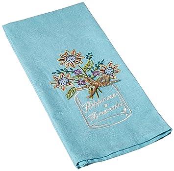 Kay Dee Designs F0748 Happiness Mason Jar Embroidered Tea Towel