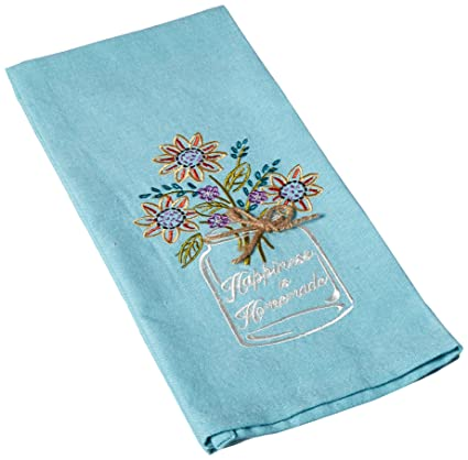 Kay Dee Designs F0748 Happiness Mason Jar Embroidered Tea Towel