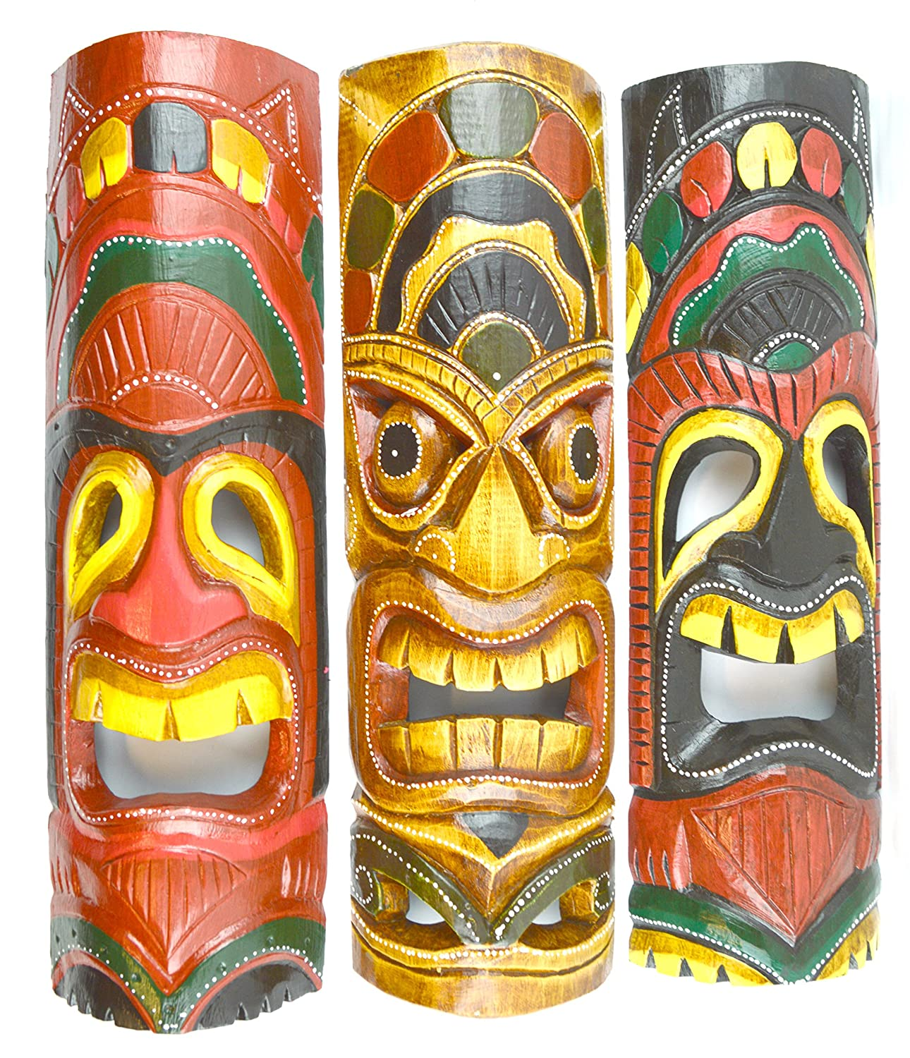 Amazon.com: 20 IN HAND CARVED BEAUTIFUL SET OF 3 POLYNESIAN TIKI GOD ...