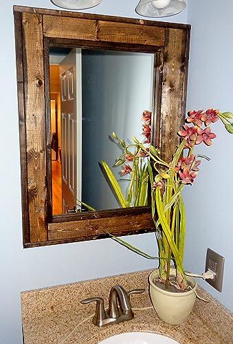 Renewed Décor Herringbone Reclaimed Wood Bathroom Vanity Mirror In 20 Stain  Colors   Large Wall Mirror