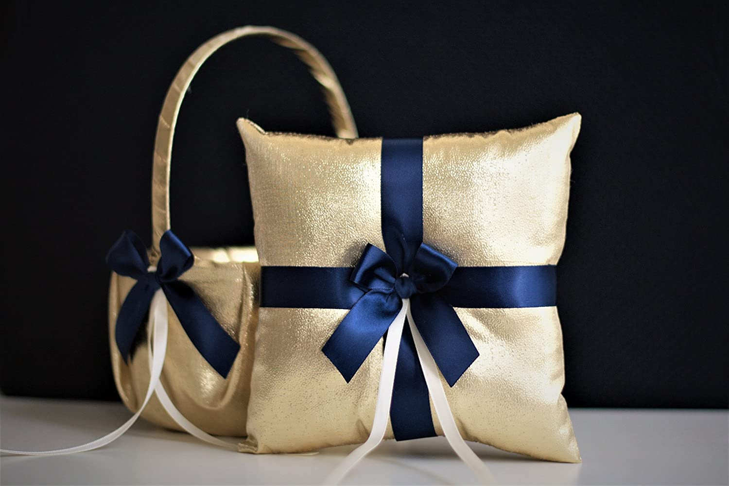 Gold Navy Wedding Flower Girl Basket & Ring Bearer Pillow Set \ Gold Wedding basket + Navy Ring Pillow \ Gold Navy Blue Basket Pillow Set
