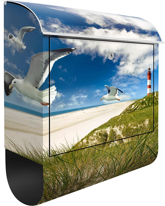 Mailbox Postkasten mit Zeitungsrolle Letterbox Design Briefkasten Dune Breeze Dekorfolie Wandbriefkasten Briefkastenanlage Ozean Nordsee M/öwen Leuchtturm
