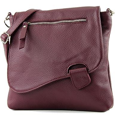 modamoda de - ital. Ledertasche Schultertasche Messenger Umhängetasche Damentasche Nappaleder groß T75, Präzise Farbe:Rot modamoda de - Made in Italy