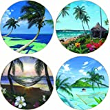 """CoasterStone AS9982 Absorbent Coasters, 4-1/4-Inch, """"Tropical Travels"""", Set of 4"""