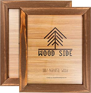Rustic Wooden Picture Frame 8x10 - Honey Brown - Set of 2-100% Natural Eco Solid Wood and High Definition Real Glass for Wall Mounting and Tabletop Photo Frames