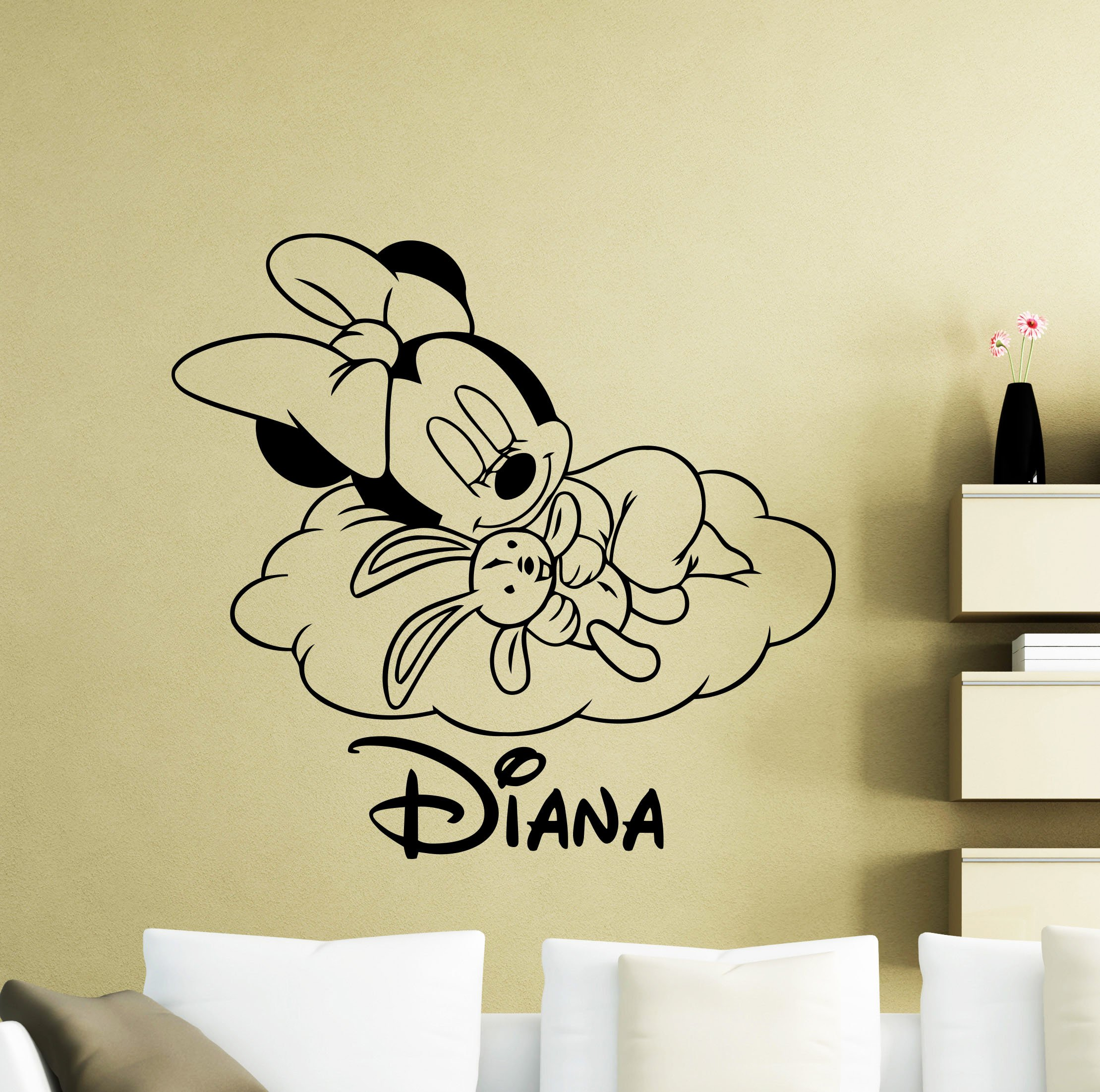 Personalized Minnie Mouse Wall Decal Sleepng On Cloud Nursery Custom Baby Name Cartoon Disney Vinyl Sticker Personal Home Nursery Room Interior Art Decor Kids Girl Boy Room Mural Vinyl Sticker 30me
