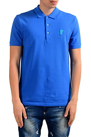 3829f826 Amazon.com: Versace Collection Men's Bright Blue Short Sleeves Polo ...