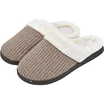 woogwin Women's House Slippers Winter Warm Non-Slip Memory Foam Indoor Shoes