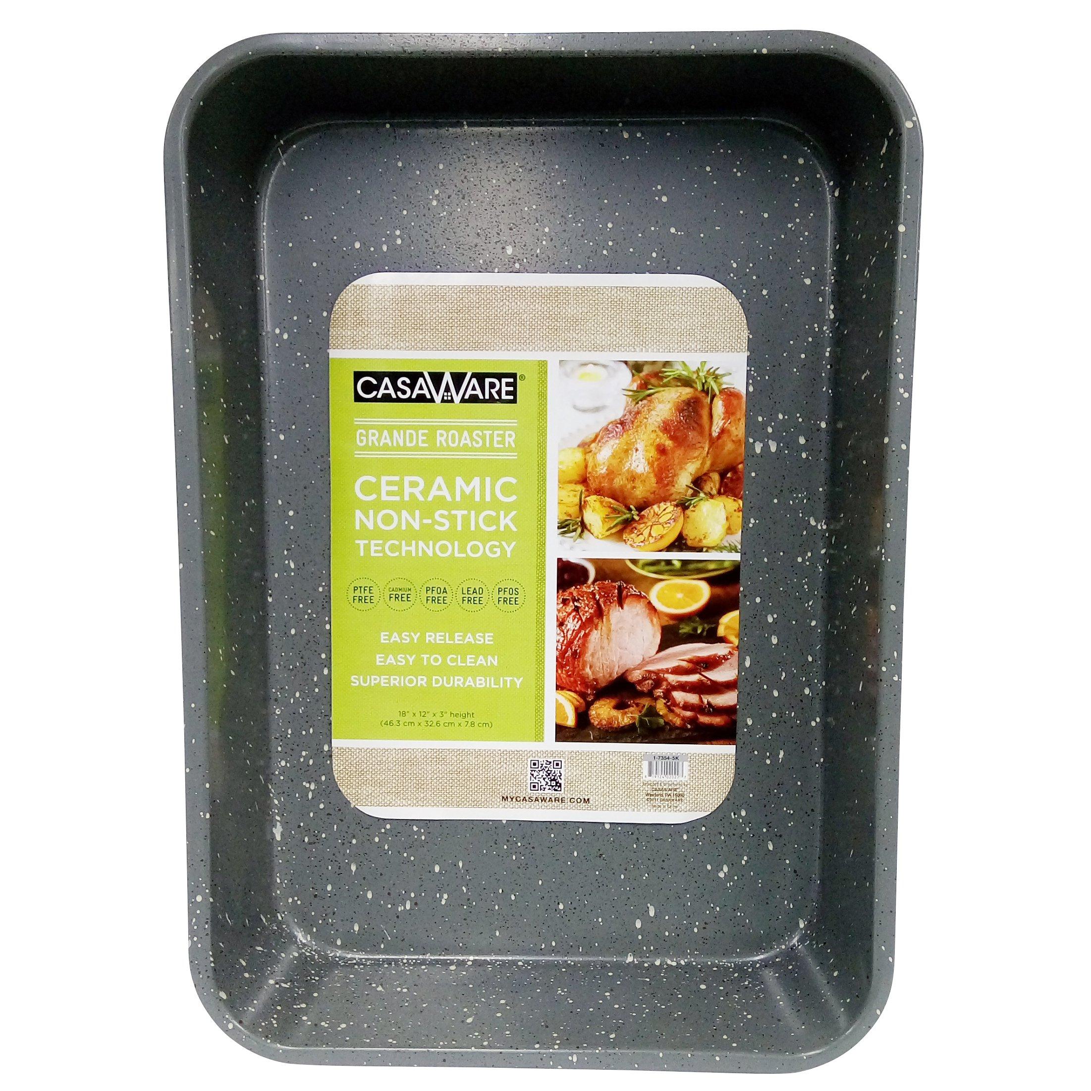 casaWare Grande Lasagna/Roaster Pan 18 x 12 x 3-Inch - Extra Large, Ceramic Coated NonStick (Silver Granite) by casaWare