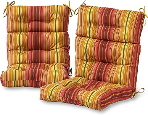 Greendale Home Fashions AZ6809S2-KINNABARI Cinnamon Stripe Outdoor High Back Chair Cushion Set of 2