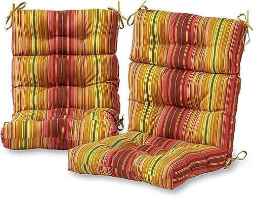 Greendale Home Fashions AZ6809S2-KINNABARI Cinnamon Stripe Outdoor High Back Chair Cushion Set of 2