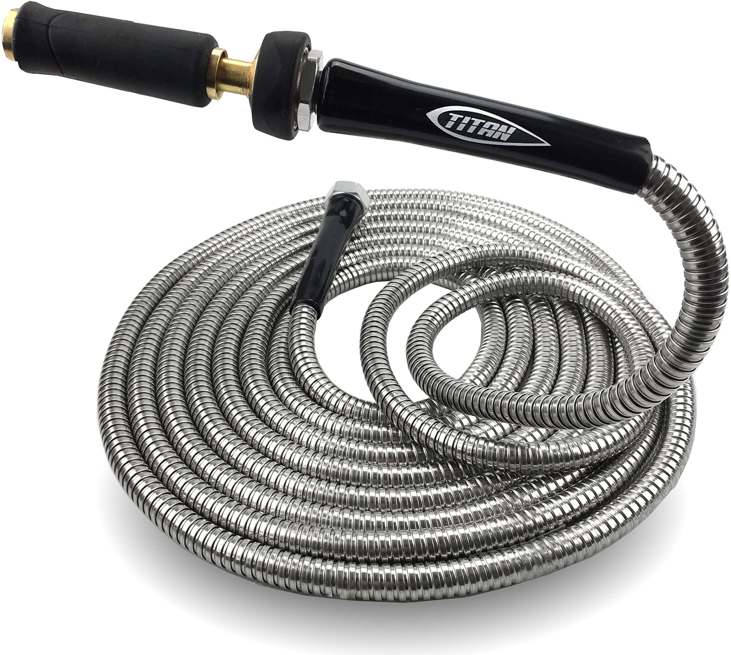 Titan 100FT Heavy Duty 304 Stainless Steel Garden Hose by BONUS Solid Brass Watering Nozzle Lightweight Kink-Free Strong Durable Metal Outer Layer