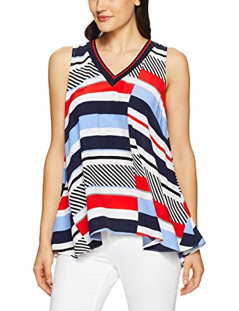 8879b11516b18 Tommy Hilfiger WW0WW21974 Kaylee Top Top Women Multi PACOAT 38 M   Amazon.co.uk  Clothing