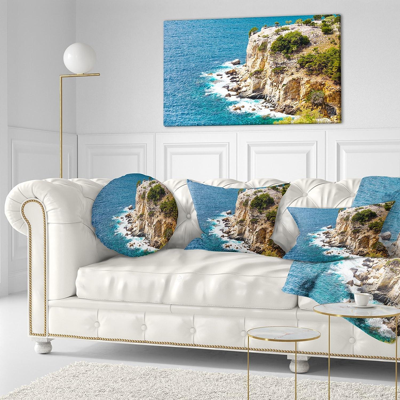 Insert Printed On Both Side Designart CU11125-20-20-C Rocky Cliff Coast Thassos Greece Seashore Round Cushion Cover for Living Room Sofa Throw Pillow 20