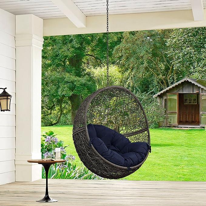 Moderna silla de balcón de diseño urbano para exteriores, color azul marino, ratán: Amazon.es: Jardín