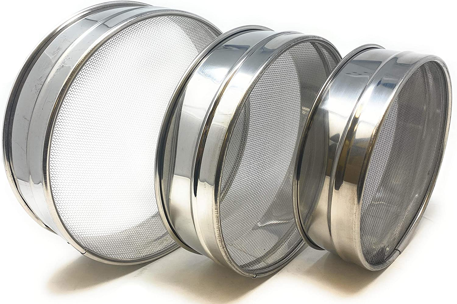 Stainless Steel Sieve ~ Set of 3 ~ for Flours 8.25 by Rani Brand Seeds 7.5 Sizes 6.7 Beans /& Lentils