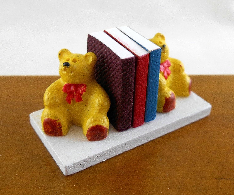 Dolls House Miniature Nursery Toy Shop Accessory Teddy Bear Bookends