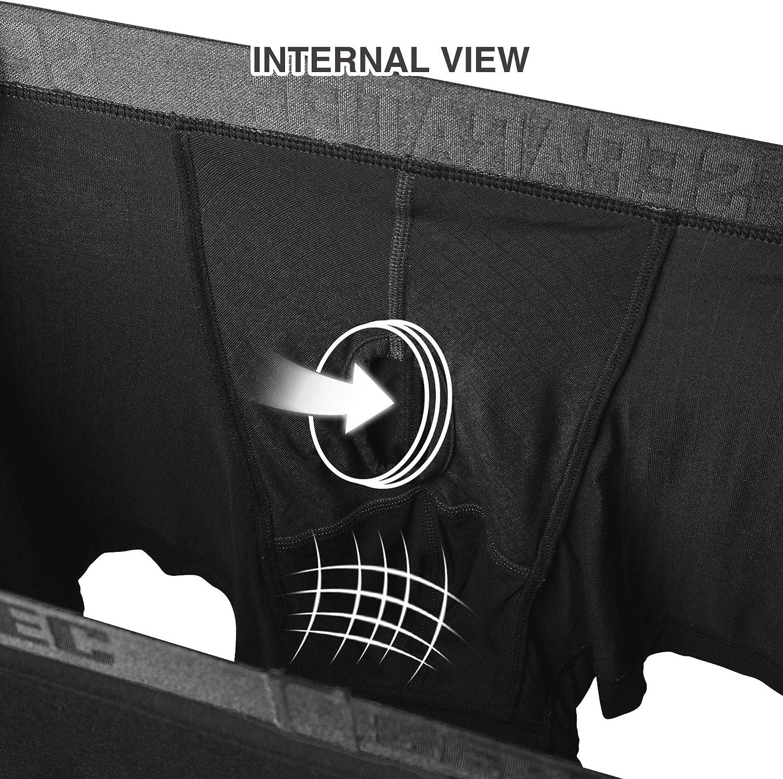Confezione da 3 Separatec Slip Boxer da Uomo Rayon in bamb/ù Liscio con Tasche Separate Boxer Intimo Boxer bauli Eleganti a Strisce