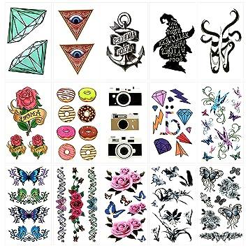 941cc351a Amazon.com: Oottati 15 Sheets Small Cute Temporary Tattoos Diamond God Eye  Anchor Ballet Shoes Donuts Camera Diamond Butterfly Flower: Beauty