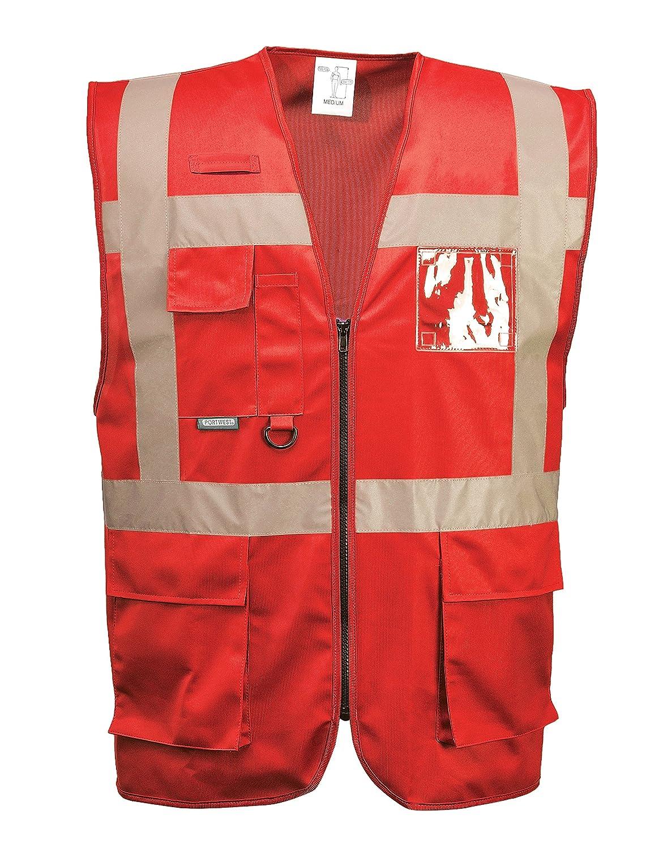 3 XL EU // 3 XL UK XXXL Portwest F476 Iona Arbeitsweste Rot