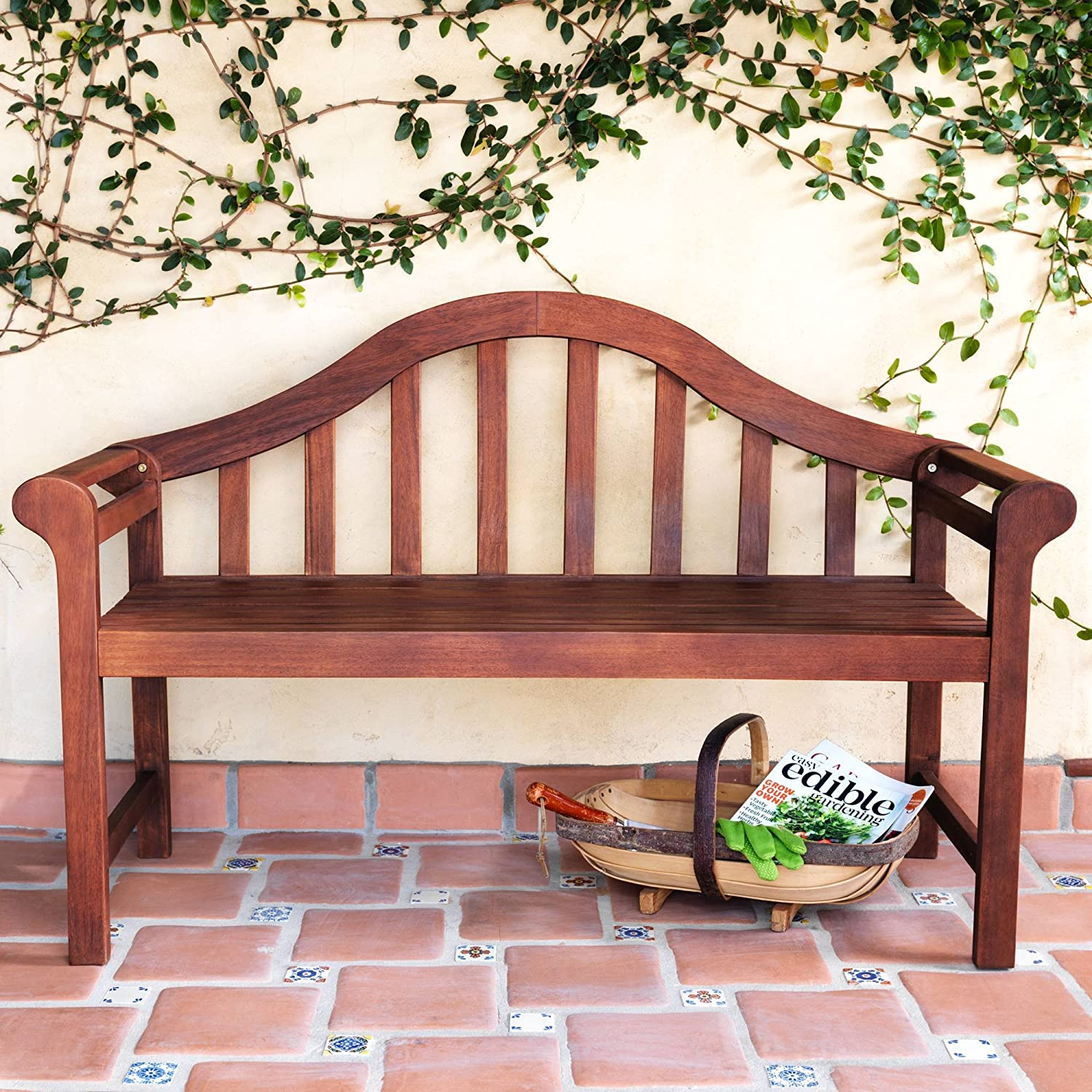 "Teal Island Designs Concorde 53"" Wide Dark Natural Acacia Wood Outdoor Bench"
