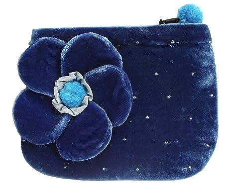 Flores de terciopelo Monedero por silkthreads azul Talla ...