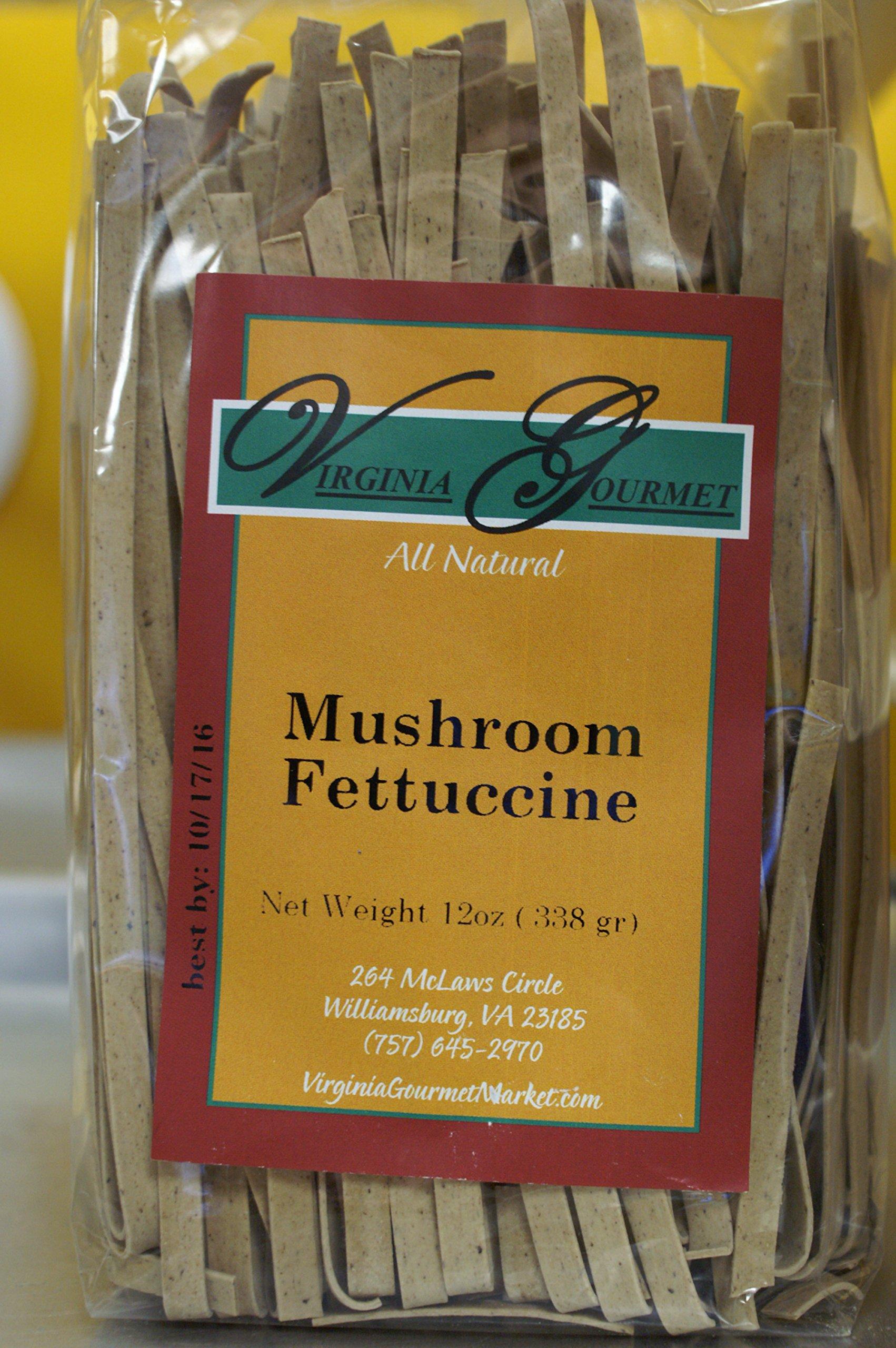 Mushroom Fettuccine Pasta - Virginia Gourmet All Natural Vegan Fresh Handmade Al Dente Pasta 6 Pack