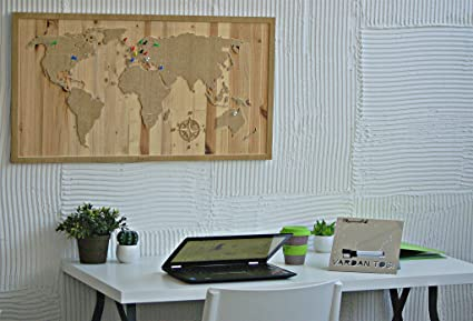 Amazon.com: day3Dream Natural Wood World Map - Wooden World Map Wall ...
