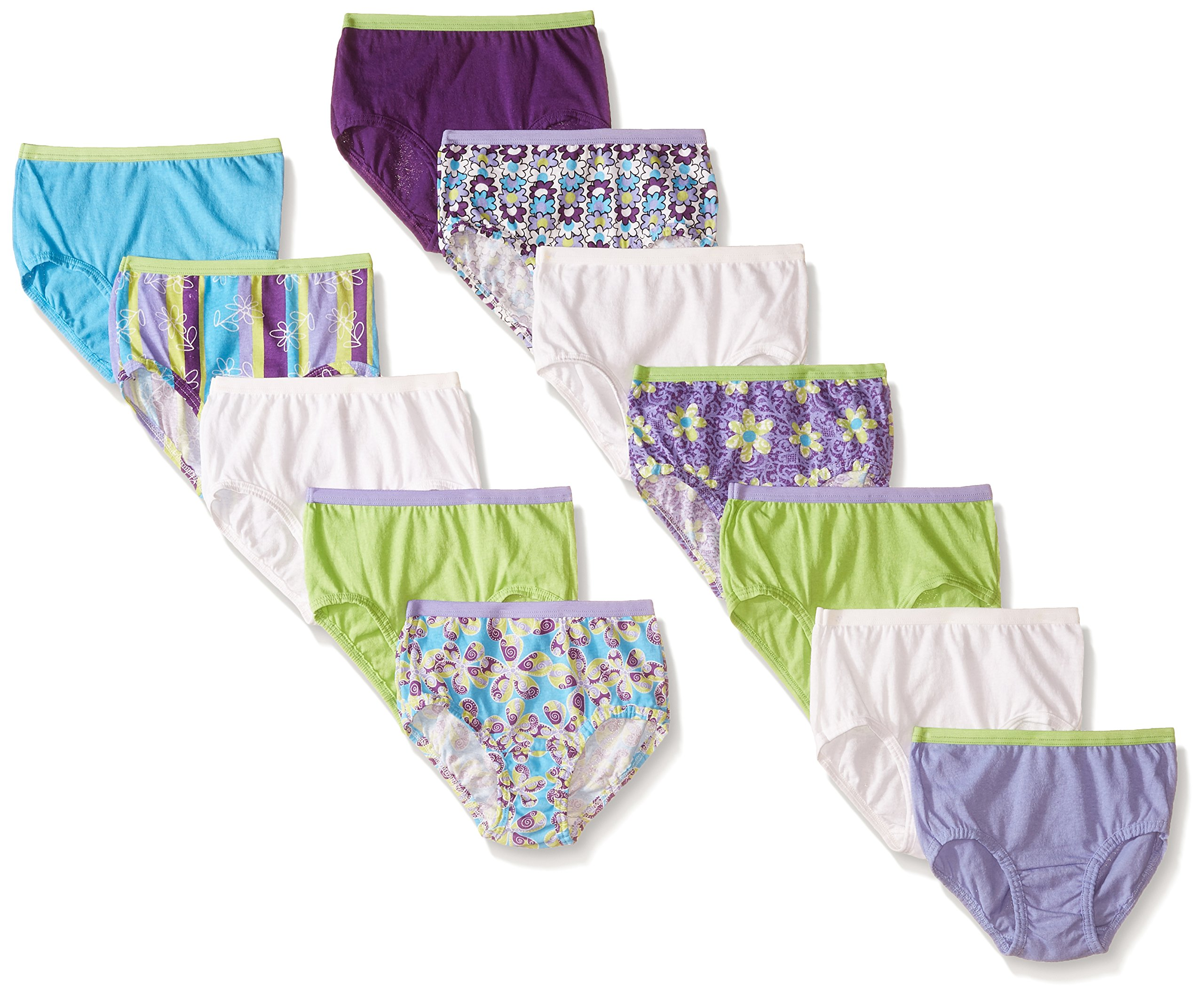 Fruit of the Loom Big Girls' Brief, Assorted, 8 (Pack of 12)