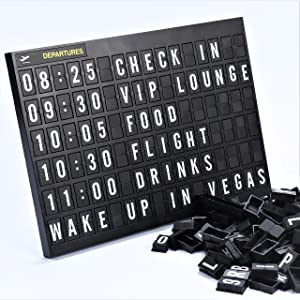 Airport Style Any Occasion Decorations Sign Cinema Message Letter Board 11.8x8.3 Inches.Aviation Changeable Letter Boards Include 4 Themed Headers And Retro Station Letters Black 264 Tiles