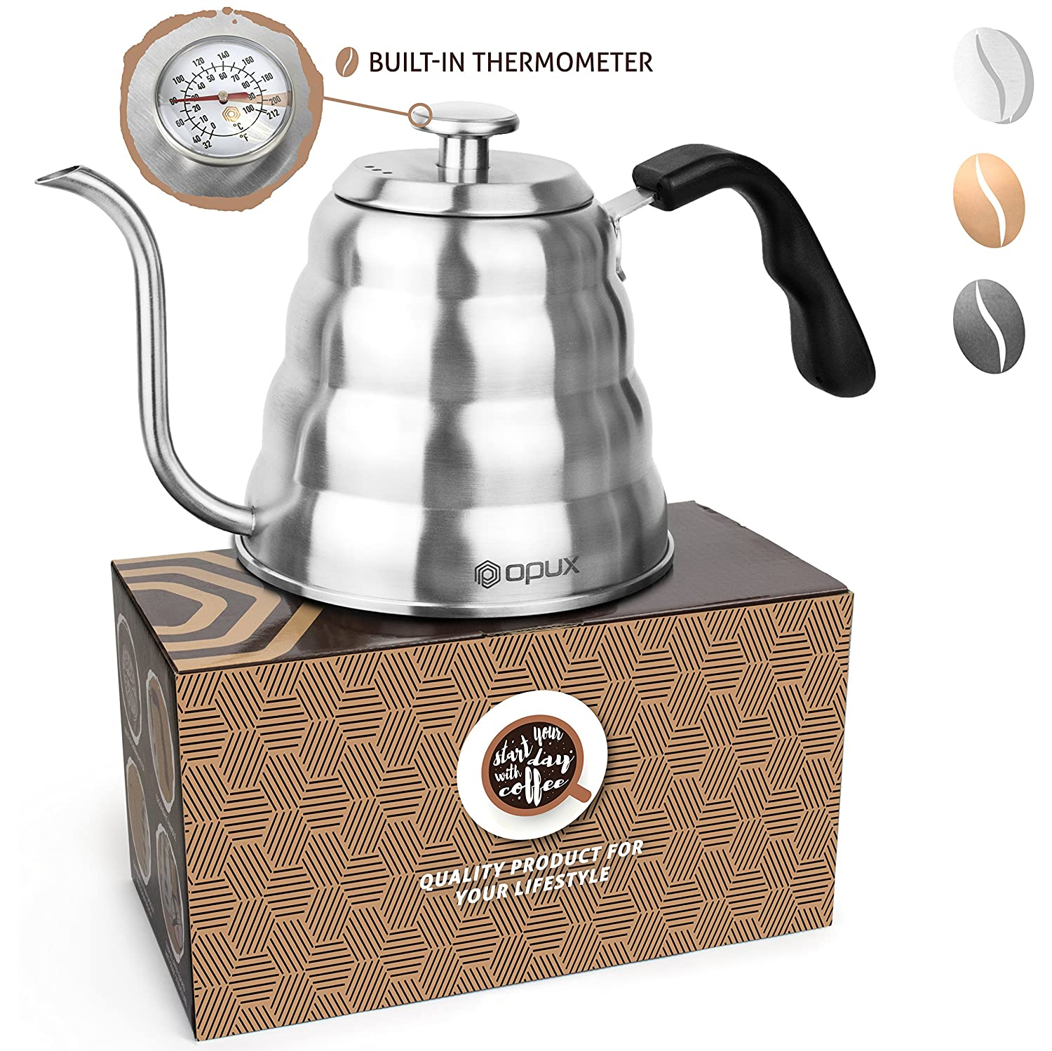 OPUX Gooseneck Pour Over Coffee Kettle with Thermometer | Premium Grade Stainless Steel Drip Kettle for Home Coffee Brewing, Tea, Barista | 40 fl oz (Stainless Steel, Solid Top)