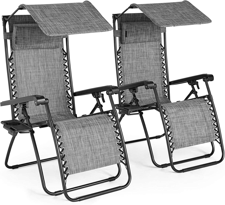 VonHaus Textoline Zero Gravity Chairs With Canopy