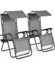 VonHaus Set of 2 Textoline Zero Gravity Chairs with Canopy - Outdoor Lounger Shade Chair with Drinks Holder