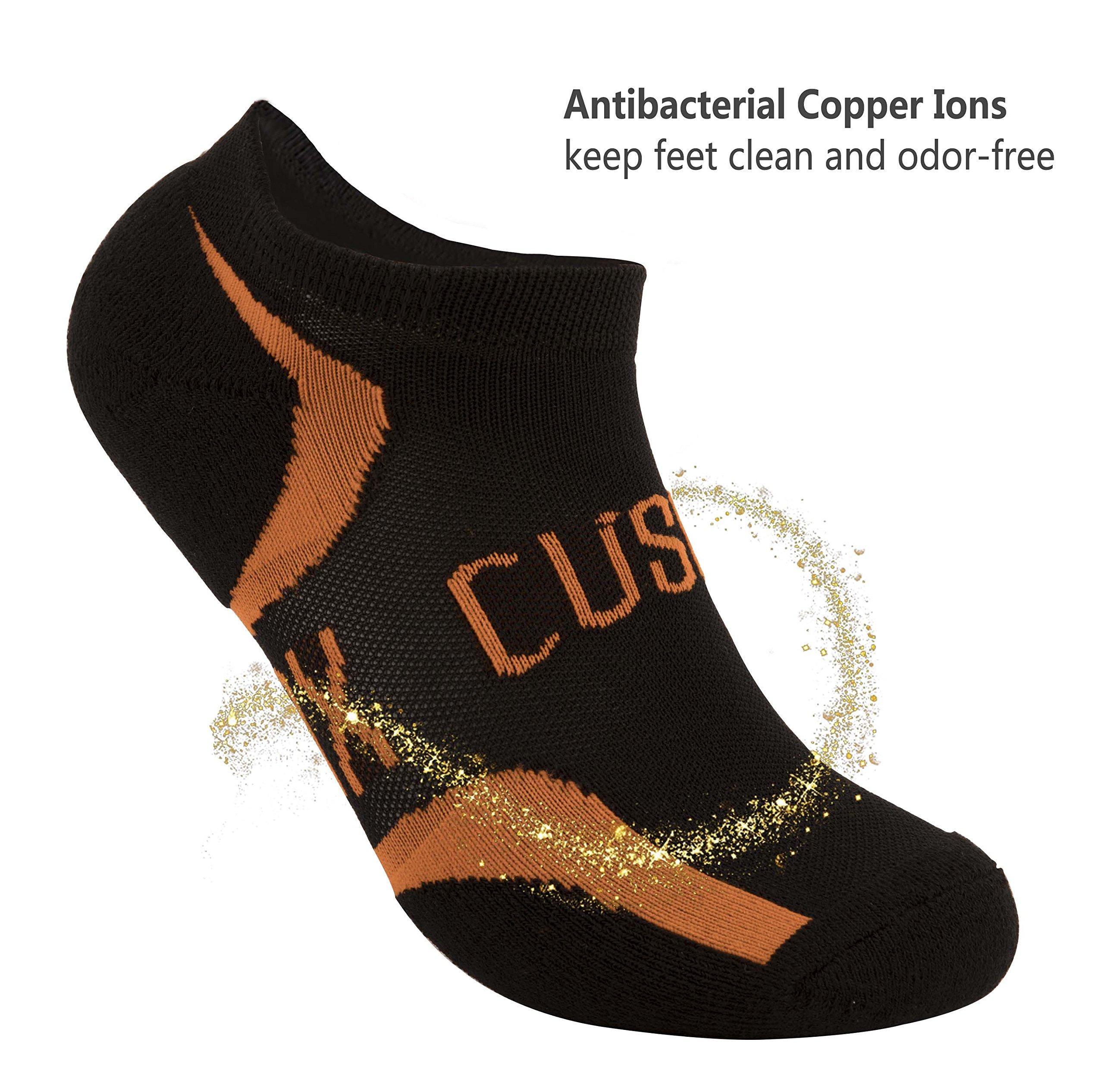 CUSOX Men\'s No Show Antibacterial Odor Free Socks with Seamless Toe 2 Pairs