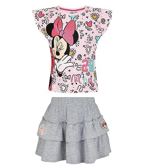 Disney Minnie Chicas Falda y Camiseta - Rosa - 128: Amazon.es ...