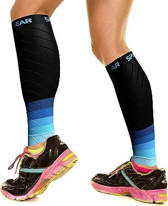 Physix Gear Sport Compression Calf Sleeves for Men & Women (20-30mmhg) - Best Footless Compression Socks for Shin Splints, Running, Leg Ache, Nurses & Maternity Pregnancy - Increase Blood Circulation
