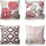 Phantoscope New Living Red&Brown Decorative Throw Pillow Case Cushion Cover Set of 4