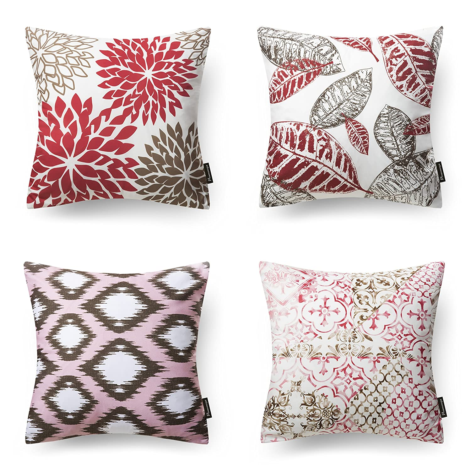 """Phantoscope New Living Series Decorative Throw Pillow Case Cushion Cover Red 18"""" x 18"""" 45cm x 45cm Set of 4"""