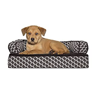 Furhaven Pet Plush & Decor Comfy Couch Memory Foam Sofa-Style Pet Bed, Small, Diamond Brown