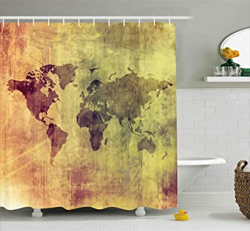 Ambesonne Grunge Shower Curtain By Vintage Old World Map With Continent Figures In Dark Motley