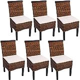 Set 6x sedie M45 intreccio di banano gambe scure 96x46x55cm ~ con cuscino