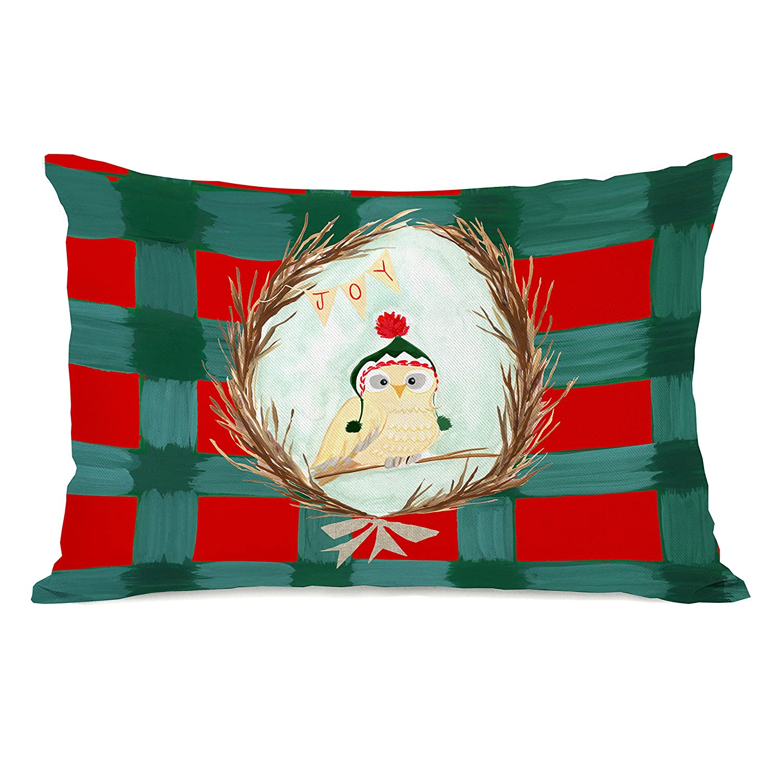 One Bella Casa 74559PL42 Joy Owl Plaid Pillow by Pinklight StudioApril Heather Art Multicolored