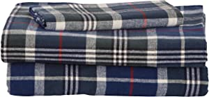 Amazon Brand – Stone & Beam Rustic 100% Cotton Plaid Flannel Bed Sheet Set, Easy Care, Twin, Blue and Green