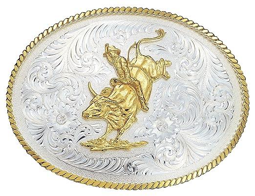 a407d4d99850 Montana Silversmiths Large gravé Argent Western Boucle de ceinture W Bull  Rider