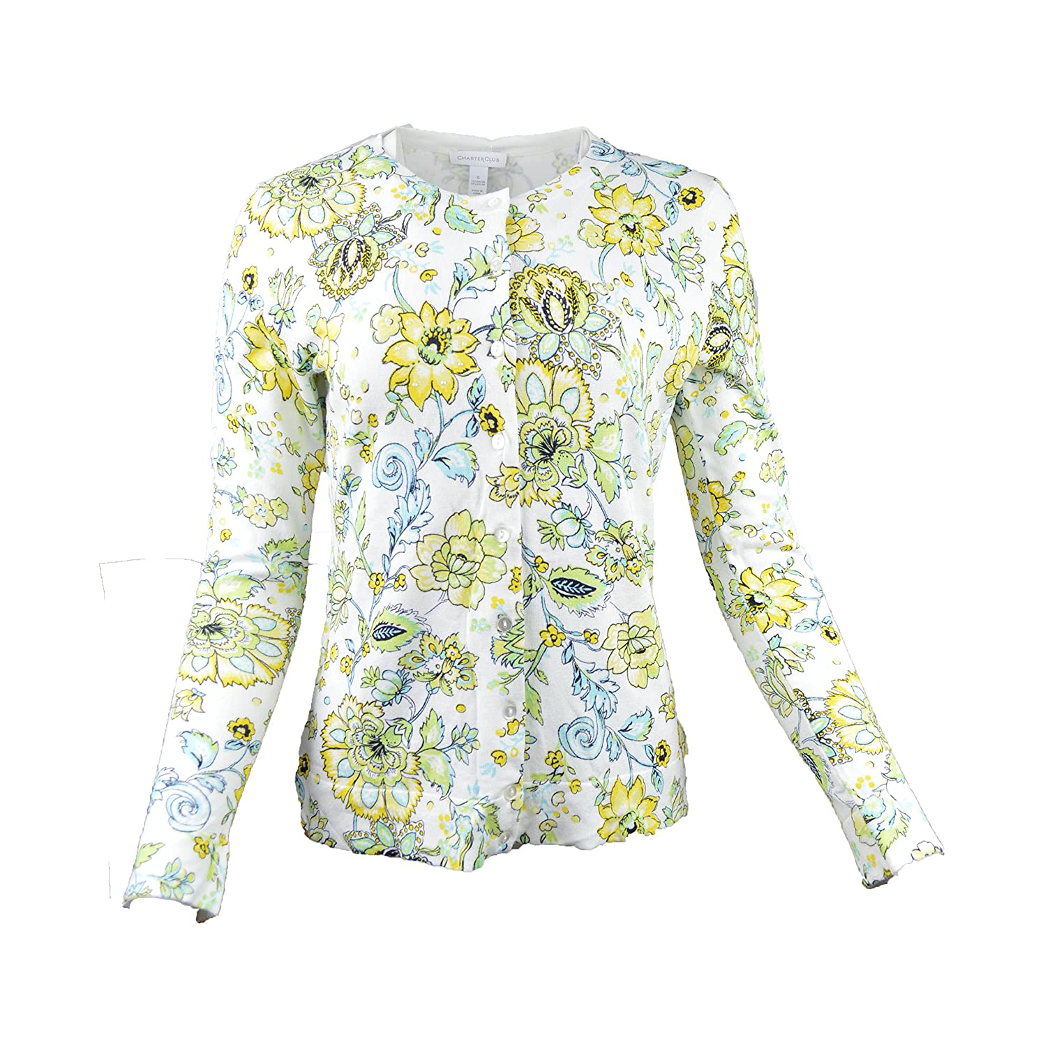 Charter Club Women's Button-front Floral Cardigan Bright White XL