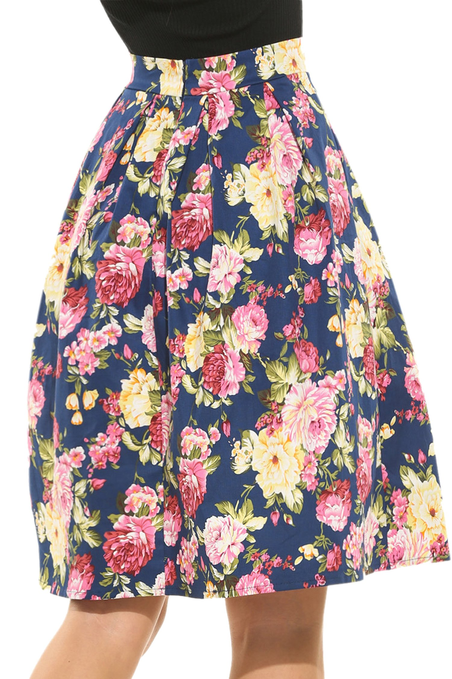 Meaneor Women's High Waisted A line Street Skirt Skater Pleated Full Midi Skirt by Meaneor (Image #2)