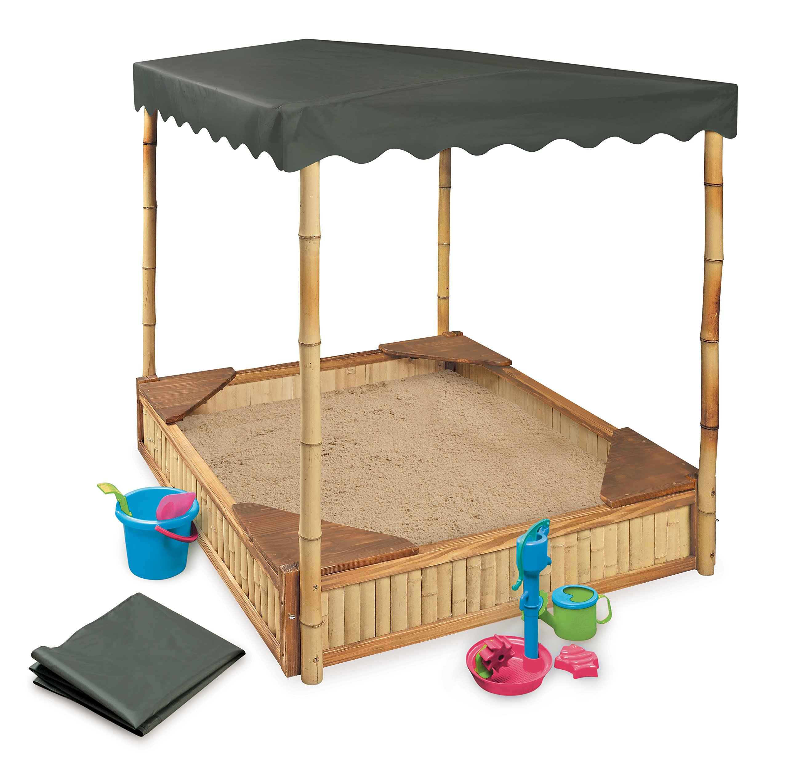 Badger Basket Tropical Fun Square Bamboo/Wood Outdoor Sandbox with Fabric Canopy/Cover and Seats, Natural/Green by Badger Basket (Image #5)